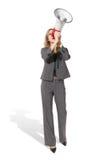 Geschäftsfrau mit Megaphon Lizenzfreie Stockbilder