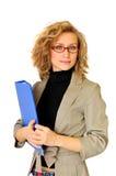 Geschäftsfrau mit Ordner Stockbilder