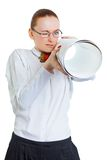 Geschäftsfrau mit Plänen Lizenzfreie Stockfotos