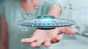 Geschäftsfrau mit Retro- Wiedergabe UFO-Raumschiffes 3D Lizenzfreies Stockfoto