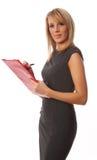 Geschäftsfrau mit rotem Faltblatt Stockbilder