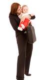 Geschäftsfrau mit Schätzchen stockfoto
