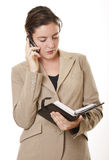 Geschäftsfrau mit Tagebuch stockfoto