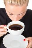 Geschäftsfrau mit Tasse Kaffee Stockbilder