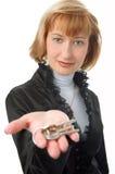 Geschäftsfrau mit Tasten Stockbild