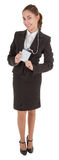 Geschäftsfrau mit unbelegtem Abzeichen Lizenzfreie Stockfotografie