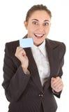 Geschäftsfrau mit unbelegtem Abzeichen Stockbilder