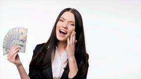 Geschäftsfrau mit US-Dollar Geld stock footage