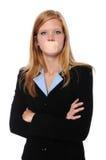 Geschäftsfrau mit Verband über Mund lizenzfreie stockbilder