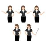 Geschäftsfrau mit verschiedenen Handzeichen Stockfoto