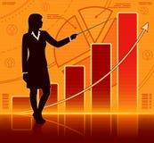 Geschäftsfrau mit wachsendem Diagramm Lizenzfreie Stockbilder