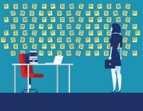 Geschäftsfrau mit Wand voll von Anzeigenanmerkungen Konzeptgesch?fts-Vektorillustration lizenzfreie abbildung