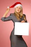 Geschäftsfrau mit weißem Blatt Stockfoto