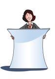 Geschäftsfrau mit weißer unbelegter Fahne Stockfotografie