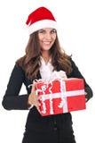 Geschäftsfrau mit Weihnachtsgeschenk stockfotos
