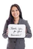 Geschäftsfrau mit Zeichen Stockfoto