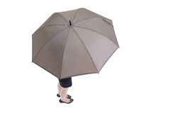 Geschäftsfrau-Nehmenregenschirm Lizenzfreie Stockfotos