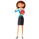 Geschäftsfrau - 2 Nettes gelb-rotes junges Mädchen glücklich am Telefon Vektor Lizenzfreies Stockfoto
