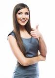 Geschäftsfrau oben lokalisiert auf weißem Hintergrund, Daumen Stockfotografie