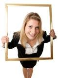 Geschäftsfrau pictureframe Weitwinkel Lizenzfreie Stockfotografie