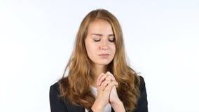 Geschäftsfrau Praying To God, weißer Hintergrund Stockbild