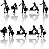 Geschäftsfrau-Schattenbilder vektor abbildung