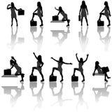 Geschäftsfrau-Schattenbilder lizenzfreie abbildung