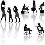 Geschäftsfrau-Schattenbilder stock abbildung
