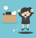 Geschäftsfrau schleichen heraus Job stock abbildung