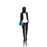 Geschäftsfrau-Schwarz-Schattenbild in voller Länge über weißem Hintergrund lizenzfreie abbildung
