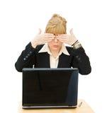 Geschäftsfrau - sehen Sie kein Übel Stockbild