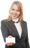 Geschäftsfrau-Showbusinesskarte Stockfoto