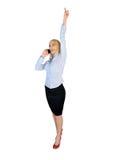 Geschäftsfrau-Siegergesprächstelefon Stockfotos