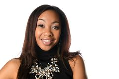 Geschäftsfrau Smiling lokalisiert über weißem Hintergrund lizenzfreie stockfotografie