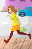 Geschäftsfrau spät für Arbeit Stockbild