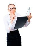 Geschäftsfrau stahl die geheimen Dateien. Stockbilder
