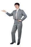 Geschäftsfrau-Shows mit ihrer Hand beiseite Lizenzfreie Stockfotografie