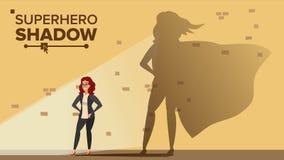 Geschäftsfrau Superhero Shadow Vector Emanzipation, Ehrgeiz, Erfolg Schach stellt Bischöfe dar Kreatives modernes Geschäft vektor abbildung