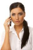Geschäftsfrau am Telefon Stockfotografie