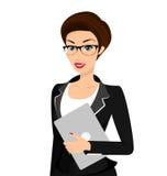 Geschäftsfrau trägt den schwarzen Anzug, der an lokalisiert wird Stockfotos