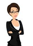 Geschäftsfrau trägt schwarzen Anzug an Stockfoto