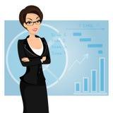 Geschäftsfrau trägt schwarzen Anzug auf Blau Lizenzfreie Stockfotografie