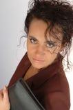 Geschäftsfrau und Aktenkoffer. Stockfoto