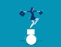 Geschäftsfrau und aus dem Gleichgewicht gebracht Konzeptgeschäftsillustration Stockbild