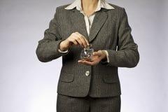 Geschäftsfrau und biggy lizenzfreie stockfotos