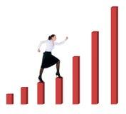 Geschäftsfrau- und Diagrammfortschritt Lizenzfreies Stockfoto