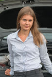 Geschäftsfrau und ein Auto Stockbild