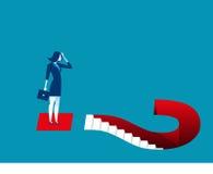 Geschäftsfrau und Fragezeichen Stockfotos