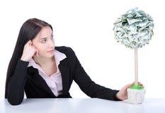 Geschäftsfrau und Geld lizenzfreie stockbilder