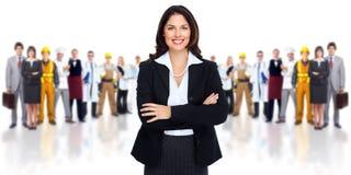 Geschäftsfrau und Gruppe Arbeitskraftleute. Lizenzfreie Stockbilder